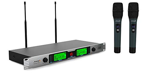"""Audibax - Missouri Rack A - Micrófono Inalámbrico Profesional UHF Doble - Set de 2 Micrófono de Mano Montaje en Rack 19"""" - Rango de Cobertura 50-80 metros - Modo de Modulación Analógico - Pilas AA"""