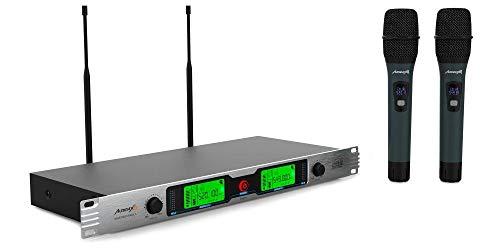 Audibax - Missouri Rack A - Micrófono Inalámbrico Profesional UHF Doble - Set de 2 Micrófono de Mano Montaje en Rack 19