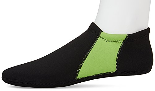 NuFoot Booties Mens Shoes, Foldable & Flexible Footwear, Fold and Go Travel Shoes, Yoga Socks, Indoor Shoes, Slippers, Black with Green Stripes, Extra Large