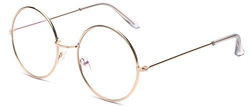 ALWAYSUV Runde Rahmen Vintage John Lennon Sonnenbrille Brillenfassung Hippe Brille Durchsichtig