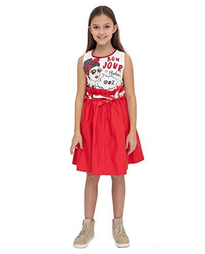 GULLIVER Kinderen Rode Jurk Meisje Mouwloze Jurk met Print Rood Wit met Strass Steentjes Knielange Katoenen A-lijn 9-14 Jaar
