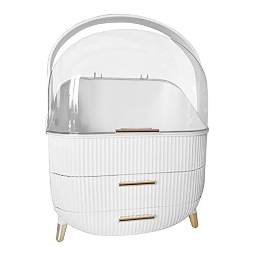 LEILEI Stlei Store Moda Capacidad de Gran Capacidad Caja de Almacenamiento cosmético Impermeable Polvo a Prueba de Polvo Baño de Escritorio Belleza Maquillaje Organizador (Color : White)