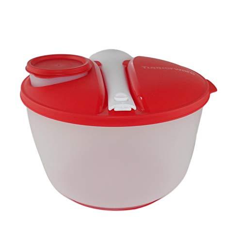 TUPPERWARE Salat&Go Besteck+Behälter To Go Picknick Salatparty 3,9L rot-weiß 10425