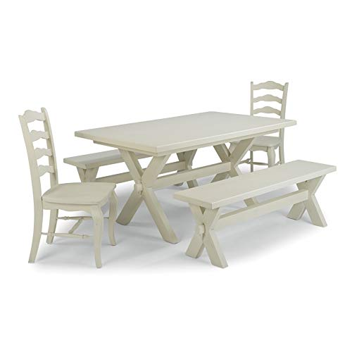 Seaside Lodge 5 Pc. White Table, Bench & Chair Dining Set by Home Styles