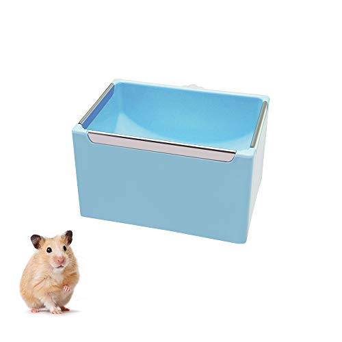 WishLotus Hamster Bowl, Cage Hanging Bowl Rectangle Plastic Small Pet Bowl with Smooth Metal Trim, Anti-bite Food Feeder for Hamster, Guinea Pig, Squirrel, Rabbit, Hedgehogs (Blue)