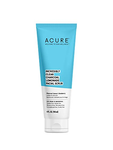 ACURE Incredibly Clear Charcoal Lemonade Facial Scrub | 100% Vegan | For Oily to Normal & Acne Prone Skin | Charcoal, Lemon & Blueberry - Exfoliates & Detoxifies | 4 Fl Oz