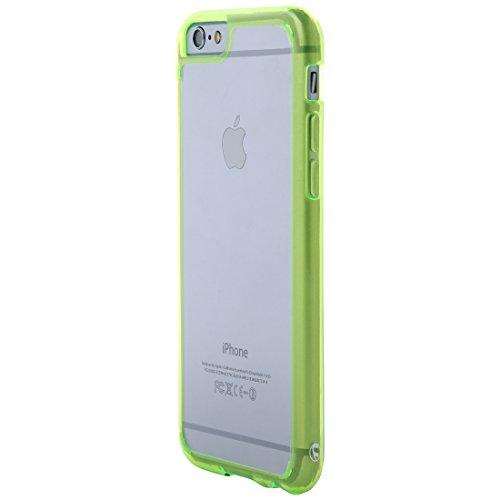 Ultratec Funda protectora híbrida para smartphone / carcasa con borde de TPU de color para iPhone 6 y 6s, con funda con cremallera, transparente/verde