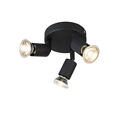 QAZQA Modern Deckenstrahler im Industriedesign schwarz schwenkbar rund - Jeany 3-flammig Spotbalken/Innenbeleuchtung/Wohnzimmerlampe/Schlafzimmer/Küche Metall Rund LED geeignet GU10 Max. 3 x 3