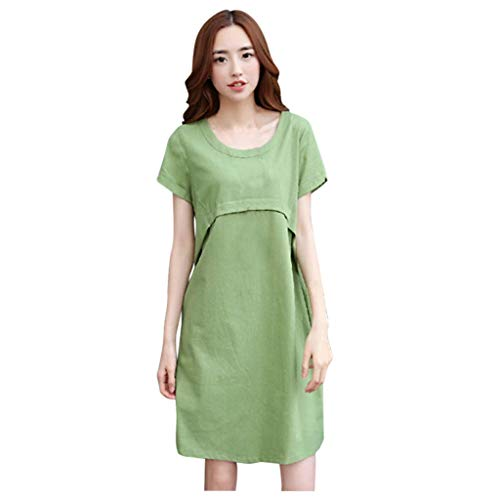 2020 New Women's Fashion Spring Summer Half Sleeve Tie Flower Print Ruffled Hem Dress A-Line Dress,Green,X-Large