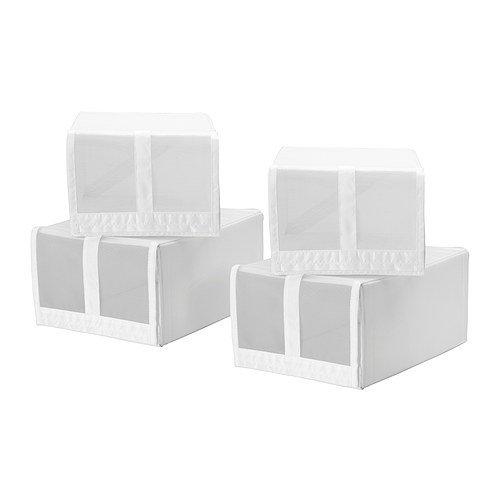 IKEA SKUBB - caja de zapatos, blanco / 4 Pack - 22x34x16 cm