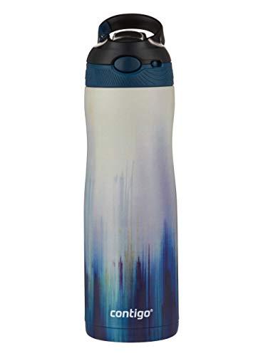 Contigo Trinkflasche Autospout Chill Couture mit Strohhalm, Edelstahl Wasserflasche, 100% auslaufsicher, Isolierflasche für Sport, Fahrrad, Wandern, 590 ml, Merlot Airbrush