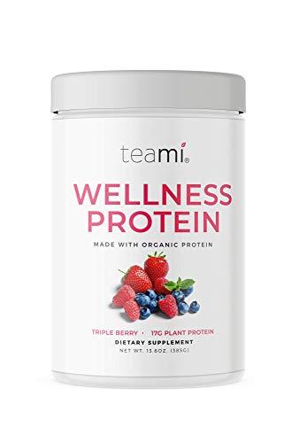 Teami Wellness Vegan Protein Powder - Organic Ingredients, Smooth Triple Berry Plant Based Protein Powder, Low Net Carbs, Gluten Free, Dairy Free, Soy Free, No Sugar Added (14 Servings, 13.6 Ounce)