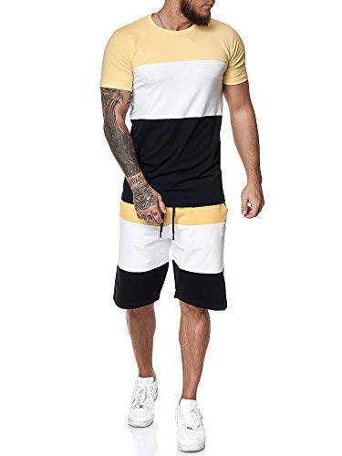 Code47 Herren Short-Jogginganzug Shortanzug Sportanzug Short T-Shirt Modell 1465 Gelb Weiss Schwarz L