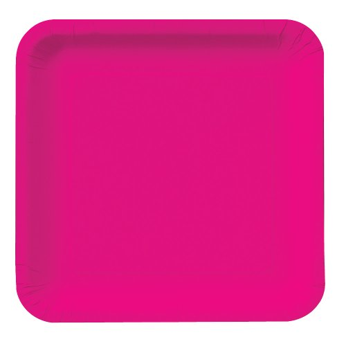 Creative Converting Touch of Color 18 Count Square Paper Lunch Plates, Hot Magenta
