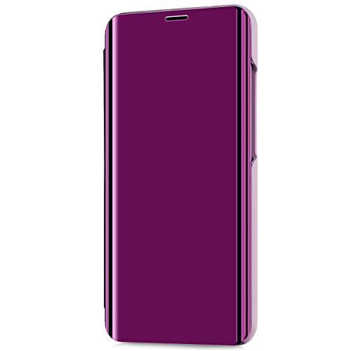 Kompatibel mit LG V30/LG V30 Plus/LG V30S ThinQ Hülle Schutzhülle PU-Leder Flip Überzug Spiegel 360-Grad-Schutz Tasche Ledertasche Handytasche Lederhülle Bookstyle Ständer Hart PC Hülle,Helles Lila