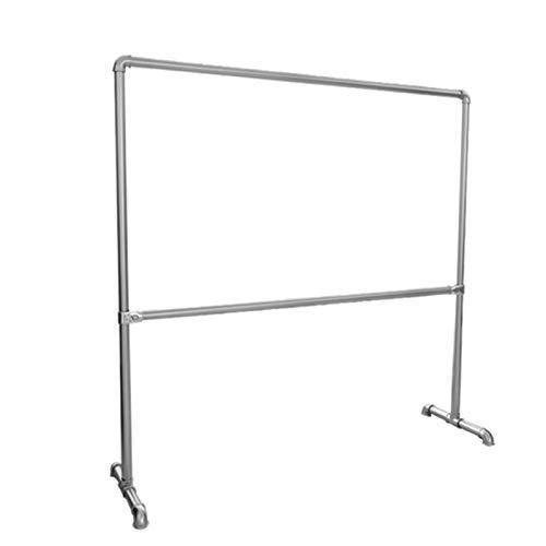YAN FEI Vintage Adjustable 2 Hanging Rails Metal Clothes Rack Garment Rack,Floor Standing Drying Rack For Indoor Outdoor Heavy Duty Coat Rack (Color : SILVER, Size : 170X70X180CM)