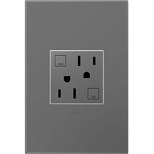 Legrand adorne 15A GFCI Tamper-Resistant Outlet with Matching Wall Plate (Magnesium Finish), AGFTR2152M4WP