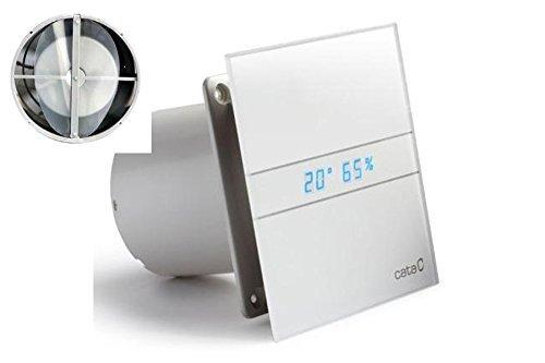 Allcata E 120 GTH Ventilator Badlüfter Timer/Feuchtigkeitsregulierung/Hydrosensor LED – Display/mit Rückschlagventil/Kugellager/Milch Glasfront/energiesparend/EU Markenqualität seit 1947