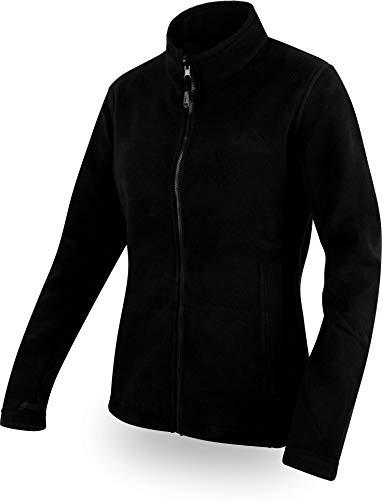 normani Damen Fleecejacke mit Stehkragen und extra winddichtem 280g Fleece Farbe Schwarz Größe L