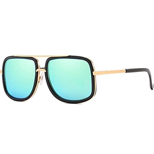 AMFG Gafas de sol personalizadas de moda retro gafas de sol polarizadas de espejo azul de doble haz de gafas (Color : D)