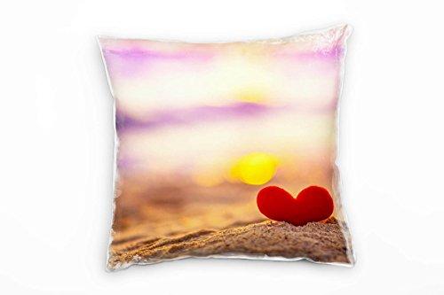 Paul Sinus Art strand, zand, hart, zonsondergang, paars, rood, oranje, decoratief kussen 40 x 40 cm, voor bank sofa lounge sierkussen - decoratie om je goed te voelen