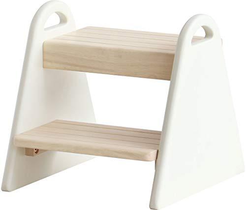 踏み台 子供 ステップチェア 2段 アイボリー 幅30 奥行32.5 高さ30 おしゃれ 木製 北欧 シンプル かわいい 子供用ローチェア (アイボリー)