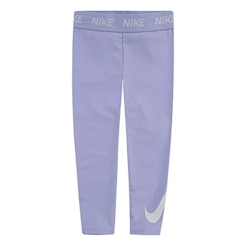 Nike Kids Baby Girl's Dri-FIT Shine Leggings (Toddler) Lavender Mist 3T Toddler