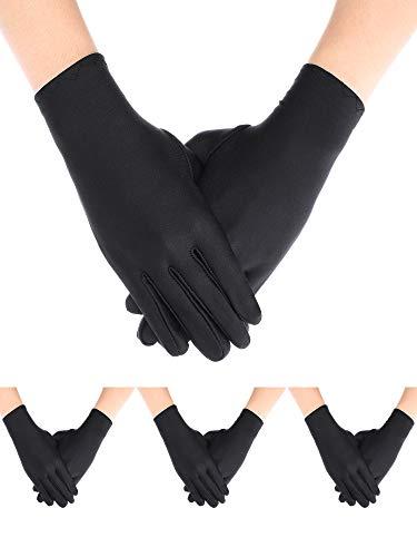 4 Pairs Uniform Gloves Costume Gloves Dress Gloves for Man Police Formal Tuxedo Guard Parade Costume(Black)