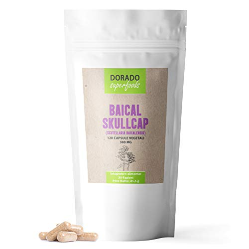 Dorado Superfoods ® Baikal Helmkraut Kapseln Baicalin | 120 Stück - 1120 mg Tagesdosis | verkapselt in Deutschland - 1 Monatspackung