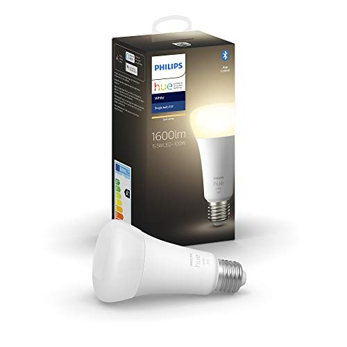 Philips Hue Bombilla Inteligente LED E27, 15.5W, con Bluetooth, Luz Blanca Cálida, Compatible con Alexa y Google Home, Blanco