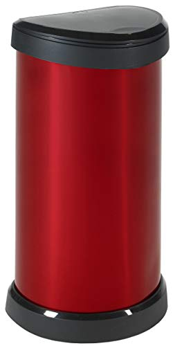 Curver Metal Effect Plastic One Touch Deco Bin, Red, 40 Litre
