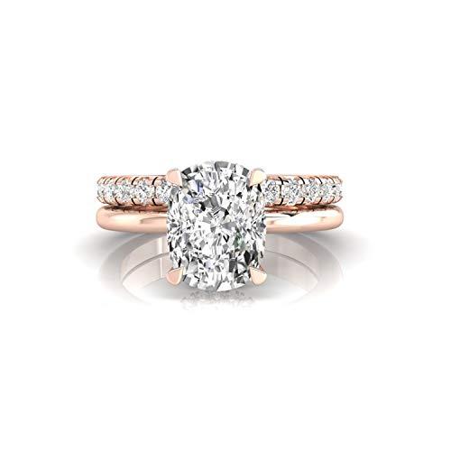 Diamondrensu 2.36 TCW - Anillo de compromiso con halo oculto de moissanita incoloro con anillo de boda de media eternidad, 14 K Moissanita para mujer, Piedra preciosa. Metal precioso., Moissanite,