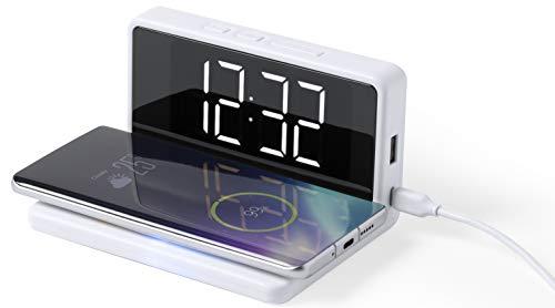 MKTOSASA - Reloj Despertador con Carga Inalámbrica Qi 5W y por Cable. Fecha y Hora, Alarma y 3 Posiciones de Luz. Conexión USB y Cable Incluido. Carga 2 Dispositivos Simultáneamente - 14x7.5x10