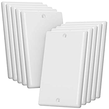 Bates- Blank Wall Plate Wall Plates Pack of 10 Wall Plate Cover 1 Gang Outlet Cover Plate Receptacle Cover Wall Outlet Cover Outlet Cover Blank Wall Plate White Blank Outlet Covers