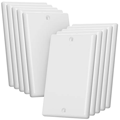 Bates- Blank Wall Plate, Wall Plates, Pack of 10, Wall Plate Cover, 1 Gang, Outlet Cover Plate, Receptacle Cover, Wall Outlet Cover, Outlet Cover, Blank Wall Plate White, Blank Outlet Covers