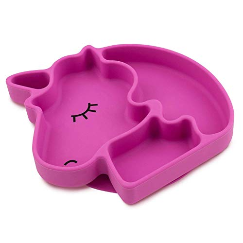 Plato silicona bebé con ventosa antideslizante. Modelo Unicornio. Material seguro sin BPA, apto para microondas y lavavajillas.