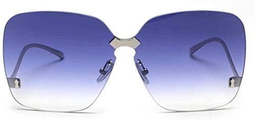 ZYIZEE Gafas de Sol Gafas de Sol de Moda de Gran tamaño para Mujer Gafas de Sol sin Montura con Lentes tintados degradados Gafas de Sol cuadradas Verdes para Mujer Grandes sombras-C21_Blue