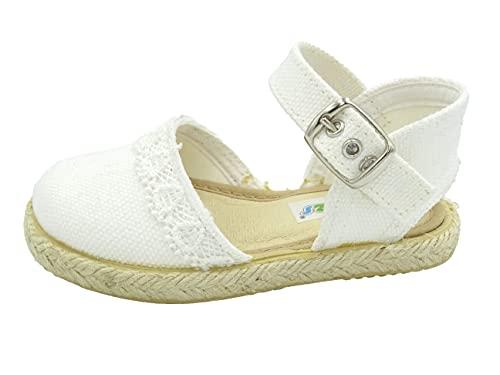 PULIDINES - 263/122 esparteña de niña con puntilla y Suela de Goma Bebé niña Talla: 26 Color: Blanco