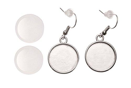 Glorex 6 1633 016 oorbellen, rond, ca. 18 mm diameter, 2 stuks, zilverkleurig, zilver.
