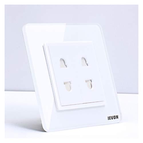 DJNCIA Panel de interruptores Interruptor de Sensor de Tacto de Pared de Lujo Táctil de Cristal de Cristal Gris Claro de Cristal Power 1/2/3 1 VÍA AC 220 para Oficina en casa (Color : 2 Pins (10A))