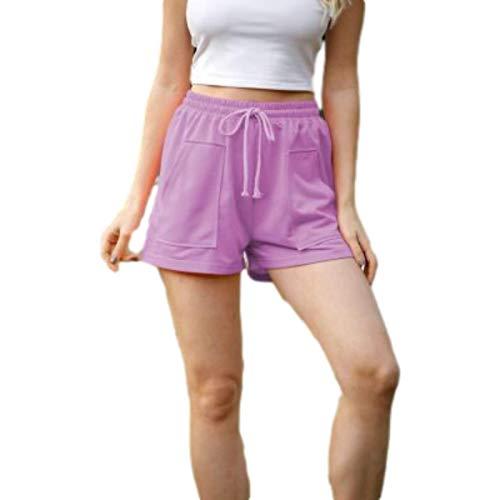 Pantaloncini a Vita Alta Casual Estivi da Donna Pantaloncini Larghi Larghi Tinta Unita con Tasche e Coulisse Regolabile 3X-Large