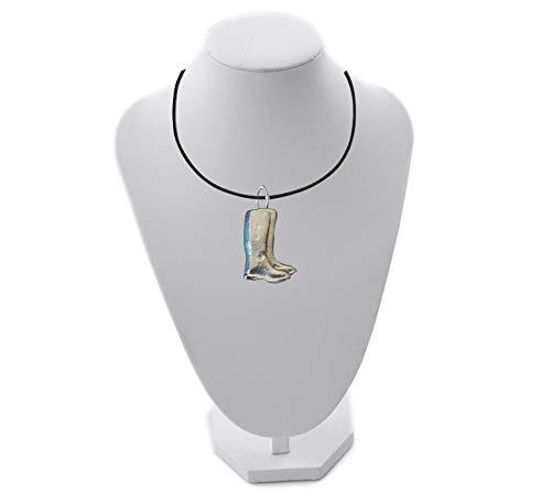 Giftsforall 3 x 4 cm ft112 Gummistiefel aus englischem Zinn auf 45,7 cm schwarzer Kordel-Halskette