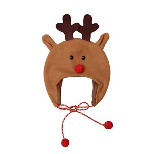 BBSMILN Gorro de Navidad Bebe Sombrero Invierno Niña Niño, Sombrero de Navidad Unisex Dibujos Animados de Reno...
