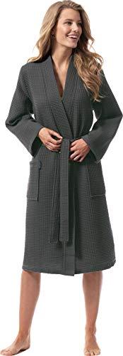 Morgenstern Bademantel für Damen aus Bio Baumwolle ohne Kapuze in Grau Kimono Bademantel lang Baumwoll Bademantel Waffelpique Größe XL Paula