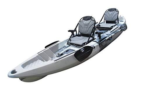 BKC TK122 12.9' Tandem Fishing Kayak W/Aluminum Upright Seats, Paddles, 4 Rod Holders Included 2-3 Person Angler Kayak (Purple Camo) (Grey Camo)