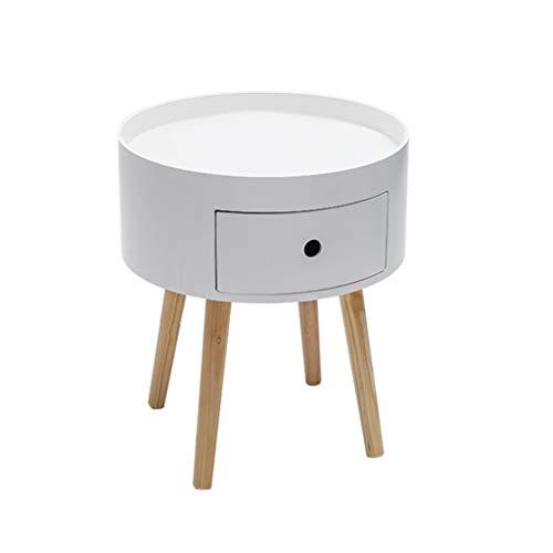 SZQ-Table Basse Tiroir Table Basse Ronde Blanc De Rangement Petite Table Moderne Simplicité Salon Canapé Support De Fleur Table à Thé Deux Tailles Table de sofa (Size : 38.5 * 38.5 * 41.5CM)