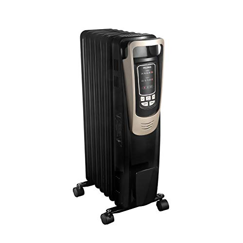 PELONIS Oil Filled Radiator Heater Luxurious Champagne Portable Space Heater with Programmable Thermostat, 10H Timer, Remote Control, Tip Over&Overheating Functions, Quiet Heater for Home Office