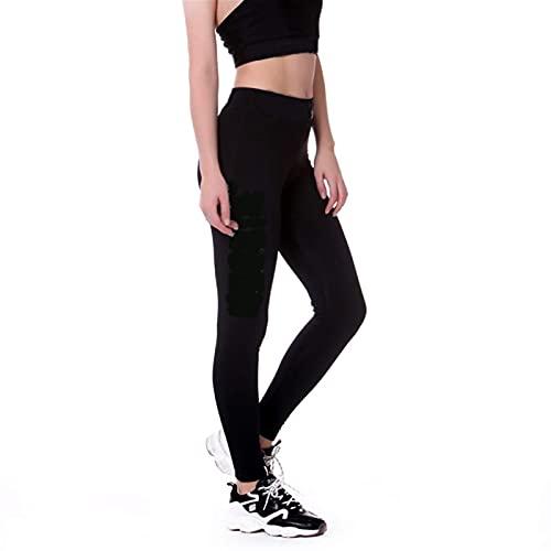 DXZ-Design Pantalones de yoga para mujer, polainas deportivas, pantalones de yoga, pantalones de correr, mallas de entrenamiento de gimnasio, leggings % 38679 (color: NB688 negro, tamaño: mediano)