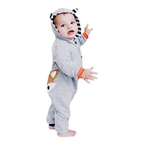 DAY8 Vêtement Bébé Garçon Naissance 0-24 Mois Pyjama Bébé Garçon Hiver Body Combinaison Bébé Garçon Manche Longue Manteau Bébé Fille à Capuche Cartoon Barboteuse Grenouillère (80(6-12 Mois), Gris)