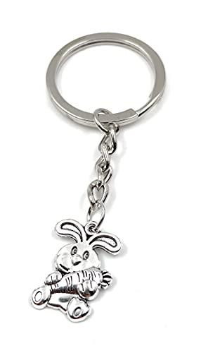 Onwomania Porte-clé lapin avec carotte sur pendentif breloque en métal argenté